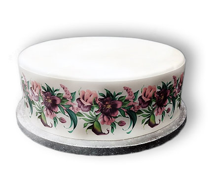 Tropical Pink Flower Cake Border Edible Decor Icing Sheet