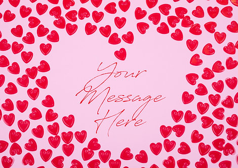 A4 Wallpaper Red Valentine's Hearts PERSONALISED MESSAGE Decor Icing Sheet