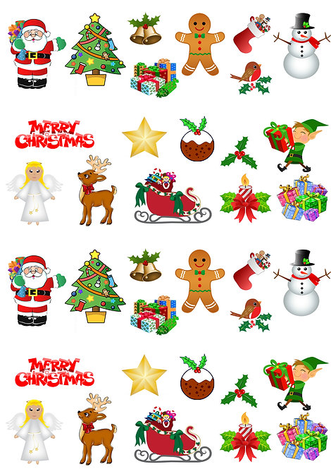 36 Stand Up Edible Wafer Paper Children's Clipart Christmas Toppers