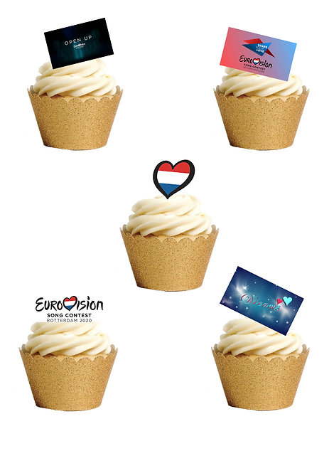 24 Stand Up Edible Wafer Paper Eurovision Rotterdam 2021 Cake Toppers
