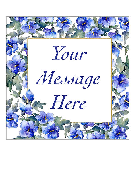 Blue Flower PERSONALISED MESSAGE 7.5 Inch SQUARE Decor Icing Sheet