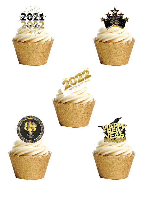 24 Stand Up Edible Wafer Paper New Years Eve 2022 Celebration Cake Toppers