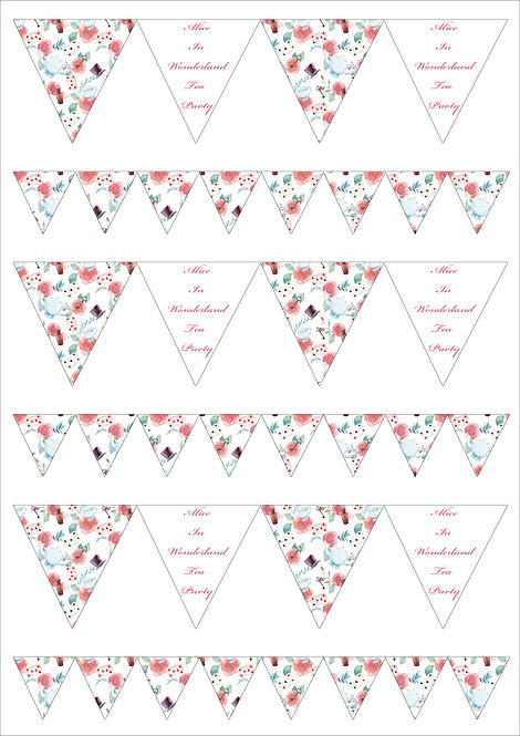 1 x A4 Vintage Alice In Wonderland Tea Party Bunting Decor Icing Sheet