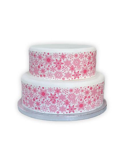 Pink Snowflake Border Decor Icing Sheet Cake Decoration