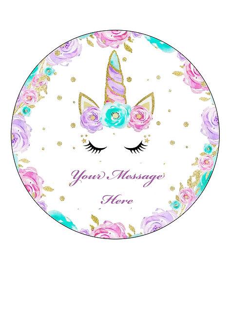 Unicorn Flower Design PERSONALISED MESSAGE 7.5 Inch Circle Decor Icing Sheet