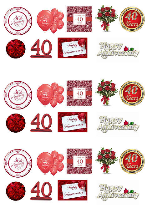 27 Stand Up Edible Wafer Paper 40th Ruby Wedding Anniversary Toppers