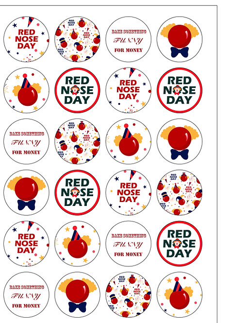 24 Precut Edible Wafer Paper Red Nose Day Comic Relief Charity Cake Toppers