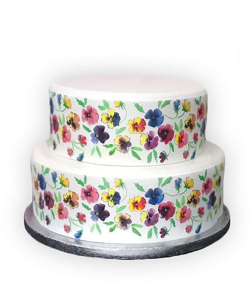 Pansy Pansies Border Decor Icing Sheet Cake Decoration