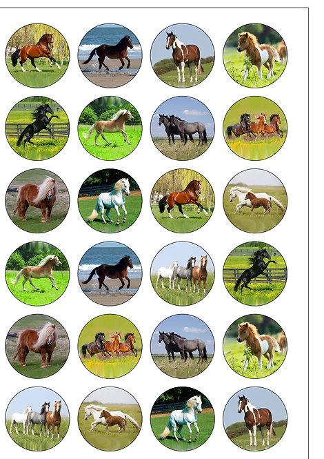 24 Horse and Pony Pre-Cut Thin Edible Wafer Paper