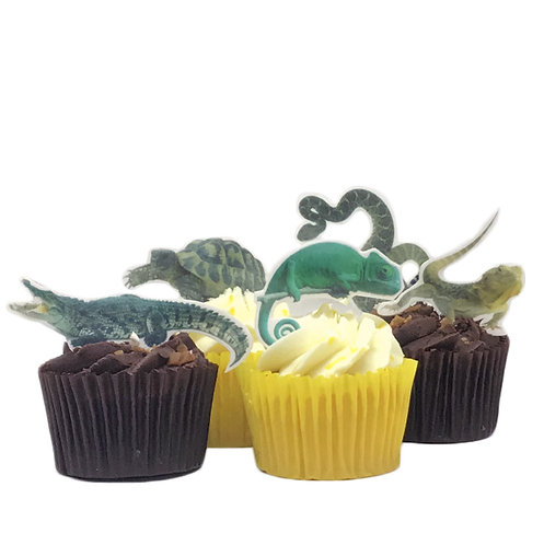 15 Reptile Themed Stand Up Cake Toppers on Thick Wafer Paper