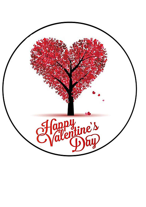 Happy Valentine's Day Love Heart 7.5 Inch Circle Decor Icing Sheet