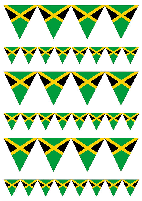Jamaican Jamaica Flag Bunting 2 Sizes Decor Icing Sheet Edible Decoration Topper
