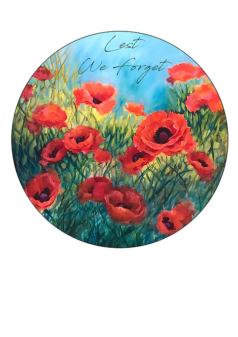 Remembrance Day Red Poppy 'Lest We Forget' 7.5 Inch Circle Decor Icing Topper
