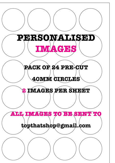 24 Precut PERSONALISED PHOTO Wafer Paper Cake Decorations
