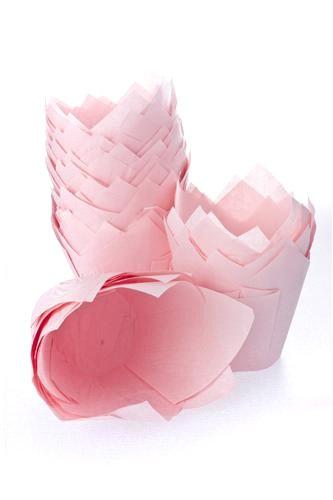 50 Pink Tulip Muffin Cupcake Baking Cases