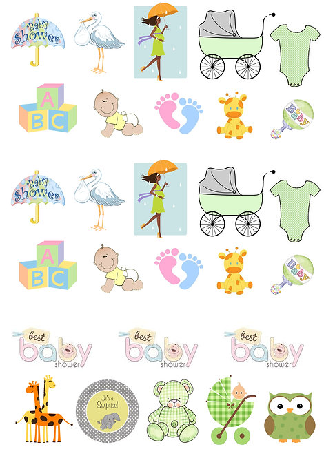 28 Stand Up Edible Wafer Paper Neutral Baby Shower Toppers