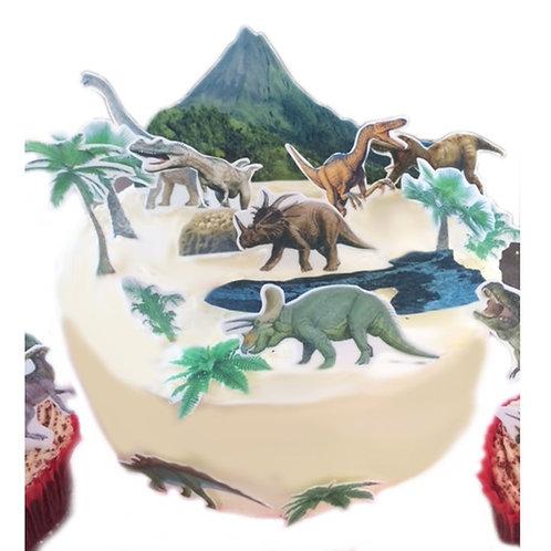 Dinosaur Jurrasic Scene Made From Edible Wafer Paper for Decorating Larger Cakes