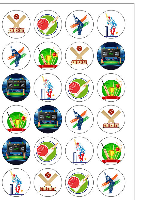 24 Precut Edible Wafer Paper Cricket sport Cake Toppers