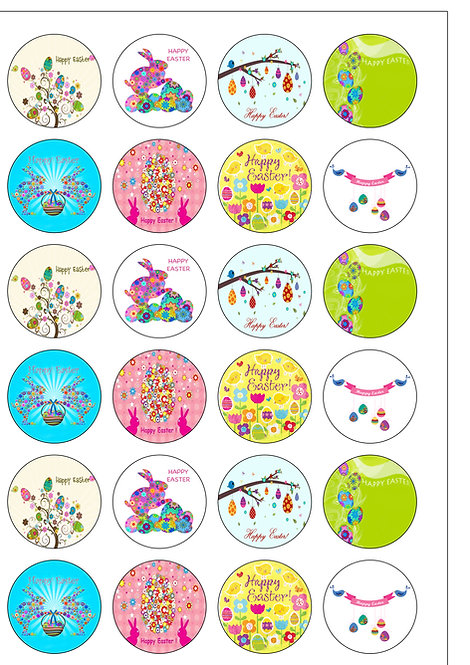 24 Happy Easter Pre-Cut Thin Edible Wafer Paper
