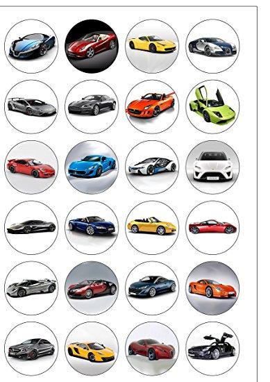24 Fast Cars Pre-Cut Thin Edible Wafer Paper