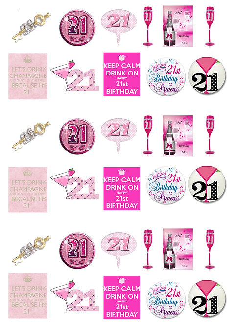 33 Stand Up Edible Wafer Paper Twenty One 21st Birthday Girl Toppers