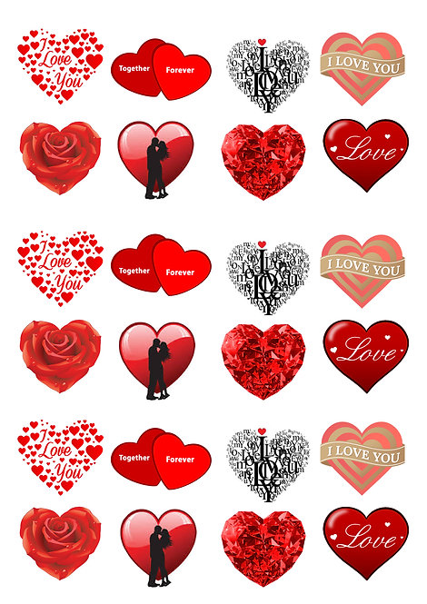 24 Stand Up Edible Wafer Paper Valentine Love Hearts Toppers