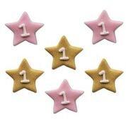 Age 1 Birthday Pink & Gold Stars Edible Sugarcraft Icing