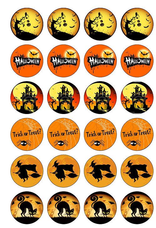 24 Halloween Pre-Cut Thin Edible Wafer Paper
