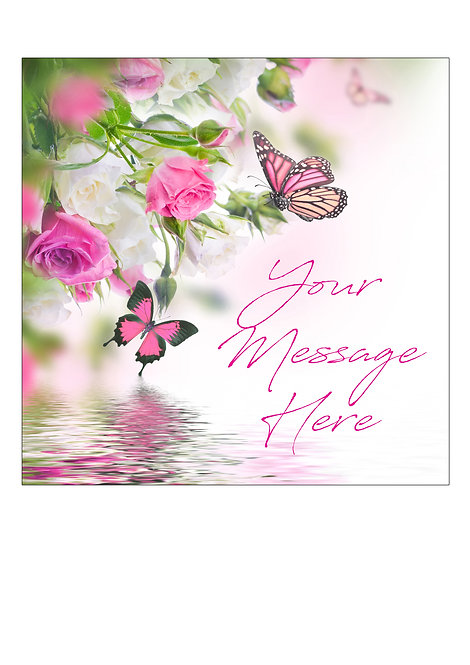 Pink Rose & Butterfly PERSONALISED MESSAGE 7.5 Inch SQUARE Decor Icing Sheet Top