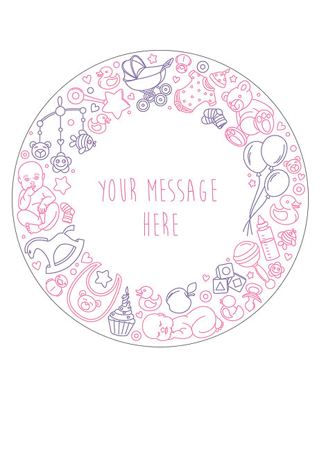Pink Girl Baby Shower PERSONALISED MESSAGE 7.5 Inch Circle Decor Icing Sheet