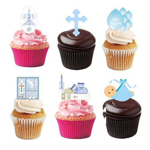 30 Stand Up Edible Wafer Paper Christening Baby Boy Toppers Decorations