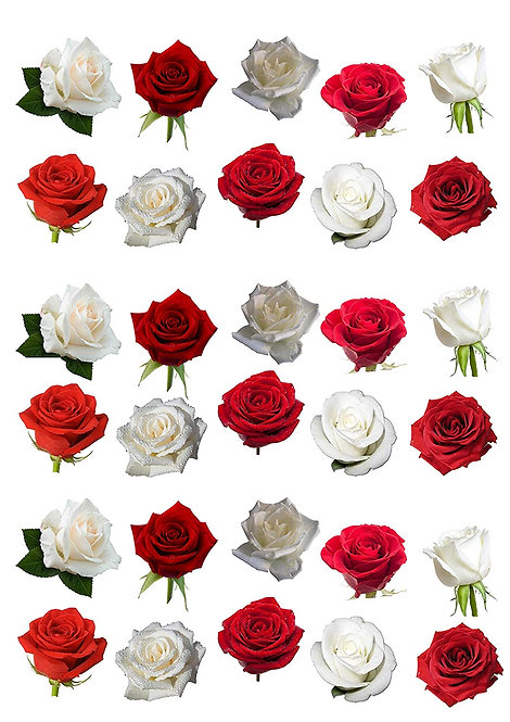 30 Red and White Rose Flower Toppers Edible Thin Wafer Paper