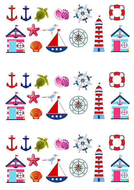 42 Stand Up Edible Wafer Paper Nautical Boat Theme Toppers