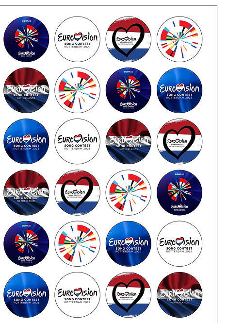 24 Pre-Cut Rotterdam Eurovision 2021 Edible Wafer Paper Cake Toppers