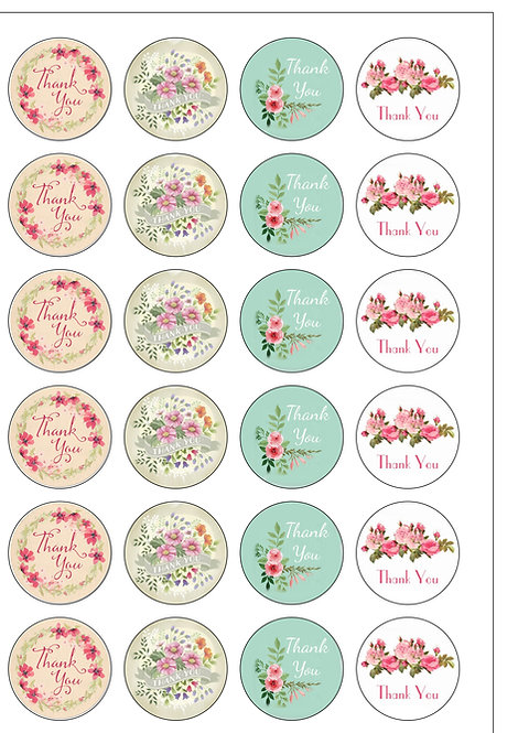 24 Vintage Flower THANK YOU Pre-Cut Thin Edible Wafer Paper