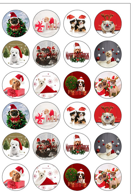 24 Christmas Dogs and Puppies Pre-Cut Thin Edible Wafer Paper