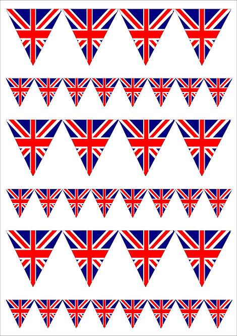 1 x A4 Union Jack Bunting 2 Sizes Decor Icing Sheet