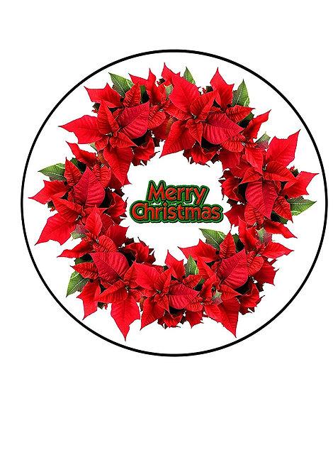 Merry Christmas Poinsettia Wreath 7.5 Inch Circle Decor Icing Sheet