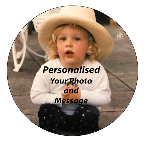 PERSONALISED MESSAGE AND PHOTO 7.5 Inch Circle Decor Icing Sheet