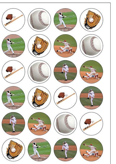 24 Baseball Sport Pre-Cut Thin Edible Wafer Paper