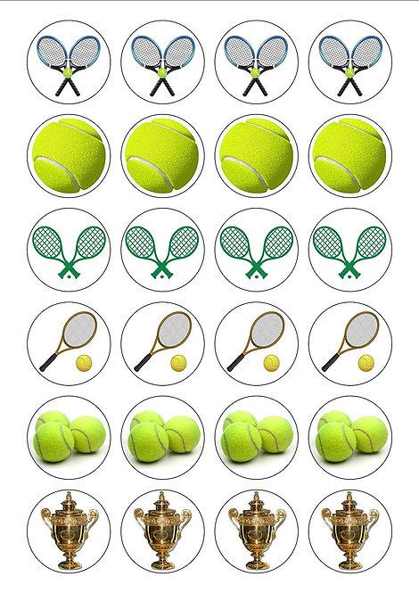 24 Tennis Sport Pre-Cut Thin Edible Wafer Paper