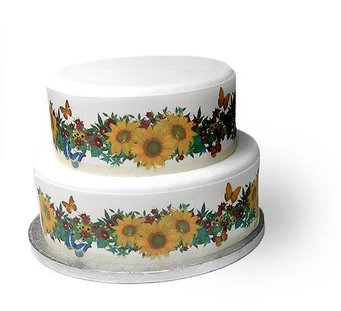 Summer Sunflower Border Decor Icing Sheet Cake Decoration