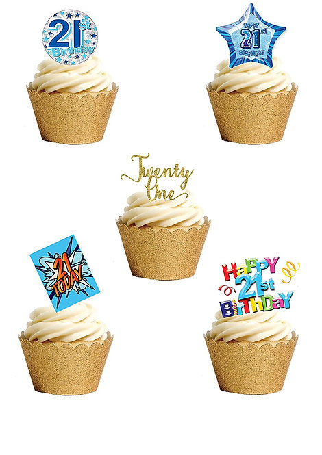 17 Stand Up Edible Wafer Paper Twenty One 21st Birthday Boy Toppers