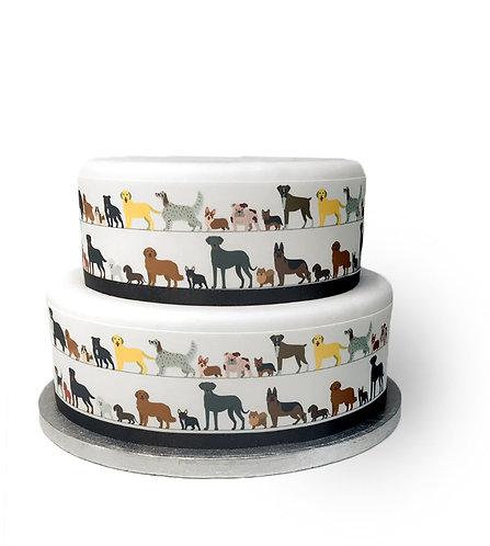 Dogs & Puppies Animal Border Decor Icing Sheet Cake Decoration