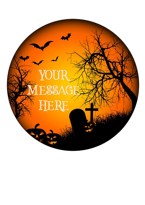 Orange and Black Halloween PERSONALISED MESSAGE 7.5 Inch Circle Decor Icing
