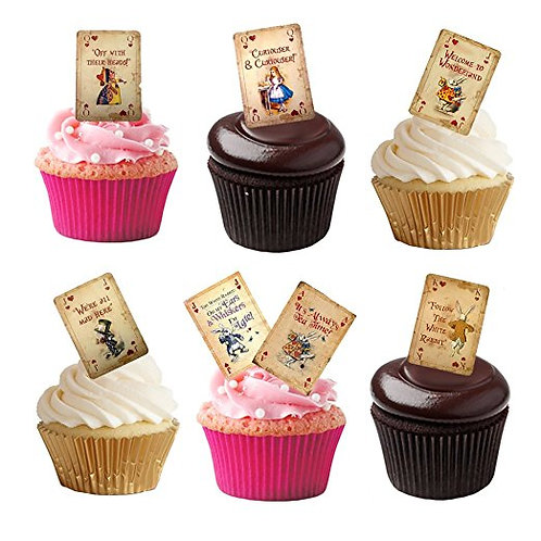 16 Stand Up Edible Wafer Paper Alice in Wonderland Playing Cards Toppers