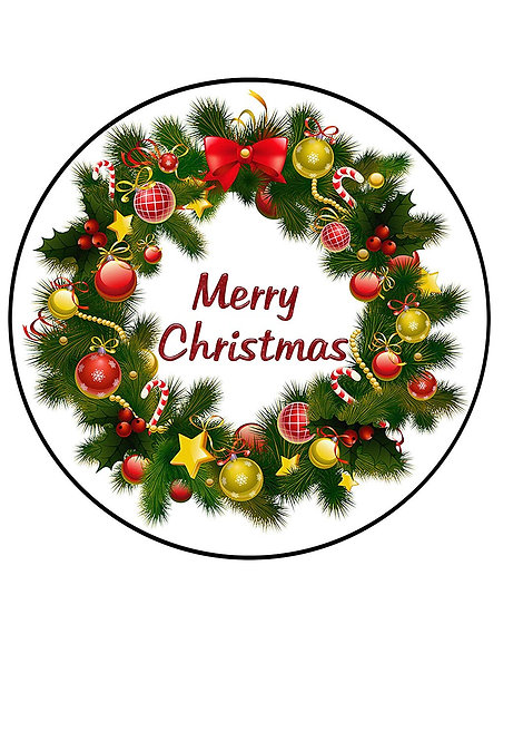 Merry Christmas Baubles Wreath 7.5 Inch Circle Decor Icing Sheet