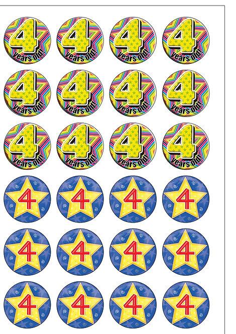 24 BOY Age 4 FOUR Birthday Pre-Cut Thin Edible Wafer Paper