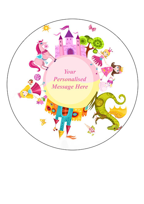 Fairy tale Princess PERSONALISED MESSAGE 7.5 Inch Circle Decor Icing Sheet