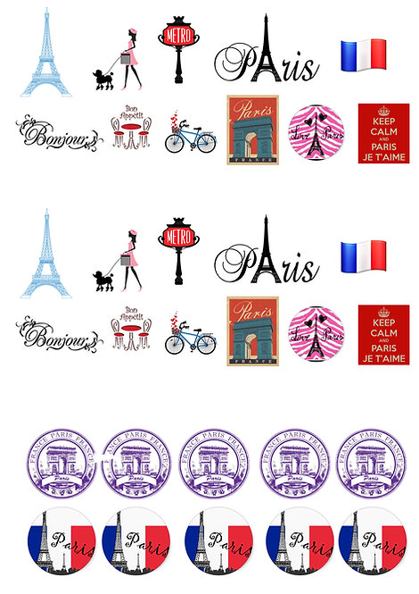32 Stand Up Edible Wafer Paper Paris Toppers